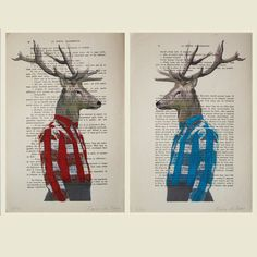 2 ORIGINAL ARTWORKS 2 Mr Deer posing- Mixed Media, Hand Painted on 1922 famous Parisien Magazine 'La Petit Illustration' by Coco De Paris