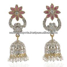 Indian Khajuraho design drops' earrings CZ and pearl studded jewellery. Pearl Stud Earrings, Pearl Studs, Drop Earrings, Silver Pearls, Brass Metal, Decorative Bells, Indian, Jewellery, Design
