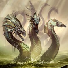 Hydra -  a gigantic monster with nine heads (the number varies), the centre one immortal. The monster's haunt was the marshes of Lerna near Argos. The destruction of Hydra was one of the 12 Labours of Heracles.
