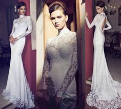 This is 2015 brand new high collar long sleeve open back mermaid wedding dress ,it's will be a not bad dress in winter .