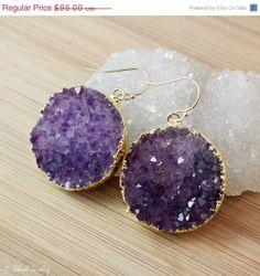 SALE Purple Druzy Crystal Earrings  MultiColour Druzy by OhKuol, $85.50 #violet #purple #druzy #royalpurple #earrings #jewelry