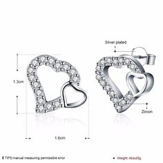 Aliexpress.com : Buy Filled Crystal Double heart stud earrings 925 stamped silver plated earrings oorbellen Brincos For woman's Valentine's Day Gift from Reliable earrings 3d suppliers on Rose Fashion Jewelry CO., LTD.