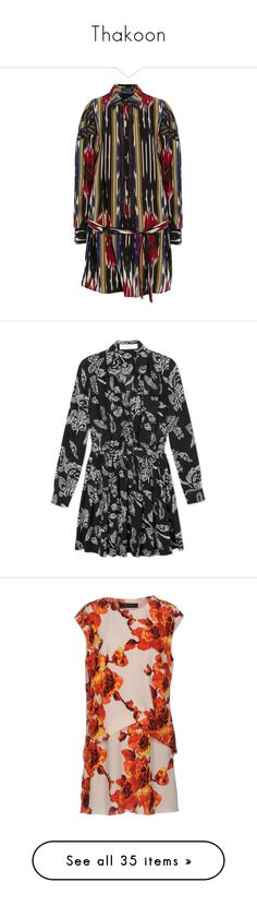 """""""Thakoon"""" by ahmady ❤ liked on Polyvore featuring dresses, see-through dresses, colorful dresses, hi low shirt dress, high low dresses, transparent dress, polka dot shirt dress, floral print dress, floral chiffon dress and chiffon shirt dress"""