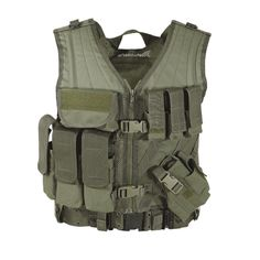 Our entry assault vest features side-release buckles with adjustable web straps and fully adjustable shoulder straps for a tailored fit. We've provided three pistol mag pouches plus one extra that's attached to our large frame auto, fully adjustable holster. There's also three M4/M16 30-round mag holders for use with long guns, a first aid/ammo pouch, two inside zippered map pockets, hookn-loop strip for ID patch, emergency grab handle, lots of universal attachment straps that fit any of our…