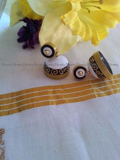 white and black quilled earrings,paper earrings,double colored quilled earrings,stud jhumkas by NIRMITY on Etsy