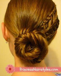 Fishtail bun with arrow braid tutorial