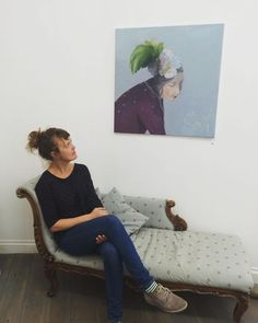 """Kristin Vestgard, at the Private View of her first solo show, """"The Red String"""" at Cornwall Contemporary. http://www.cornwallcontemporary.com/exhibition/kristin-vestgard/"""