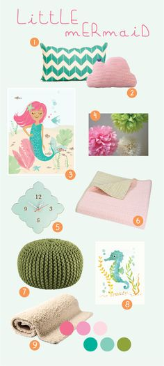 """I love these colors (not really the little mermaid THEME) - but the colors. except maybe more of a citron than that dull green. """"Little Mermaid nursery. Little Mermaid Nursery, Mermaid Bedroom, Baby Mermaid, Baby Bedroom, The Little Mermaid, Girls Bedroom, Bedrooms, Aqua Nursery, Girl Nursery"""