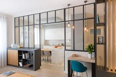 the – charm – dune – canopy – development – decoration – lyon – oullins – renovation – works – architecture – apartment – agency – lanoe – marion by sabineheydt Apartment Interior, Home Interior, Apartment Living, Interior Architecture, Interior Design, Living Room Kitchen, Living Room Decor, Living Comedor, Home Decor Inspiration