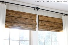 Mount blinds above window to get more height. I like the look of these wooden/sea grass blinds with the white curtains and the thin dark rods. The Lettered Cottage (living room decor tips window treatments) Bamboo Blinds, Wood Blinds, Blinds Diy, Blinds Ideas, Roman Blinds, House Blinds, Blinds For Windows, Window Blinds, Window Shutters