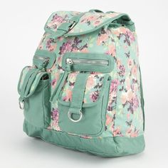 T-Shirt & Jeans Fiona Floral Rucksack ($30) ❤ liked on Polyvore featuring bags, backpacks, accessories, purses, mint, green backpack, knapsack bags, floral bag, floral rucksack and floral backpack