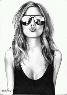 Bleistiftzeichnung Your strengths - (thoughts of Olena Seregina) y . Girly Drawings, Pencil Art Drawings, Art Drawings Sketches, Cool Sketches, Drawing Faces, Art Illustrations, Illustration Art, Girly M, Girls With Glasses