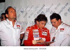 (L-R) Ron Dennis, Ayrton Senna, Giorgio Ascanelli (McLaren), AUGUST 1993 - F1 : McLaren-Honda team principal Ron Dennis, Ayrton Senna and engineer Giorgio Ascanelli in the pits before the 1993 Hungarian Grand Prix at the Hungaroring in Hungary
