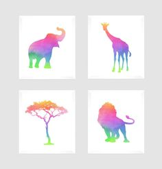 ***** FRAMES ARE NOT INCLUDED****  This listing is for a set of 4 prints that will look beautiful in any nursery, kids room or playroom. These Prints