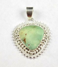 Natural Turquoise Heart Shape 21x22mm Gemstone 925 Sterling Silver Pendant #Raagraw