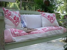 cute cushions from vintage linens