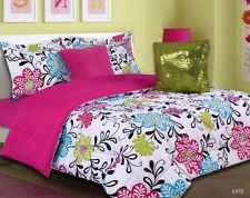 girls kids bedding kate multi color bed in a bag the kate comforter set features bright colored flowers in blue purple lime and pink along with a black