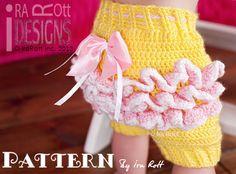 CROCHET PATTERN, Fiesta Owl Pants and  Ruffled Bloomers Crochet Pattern in PDF