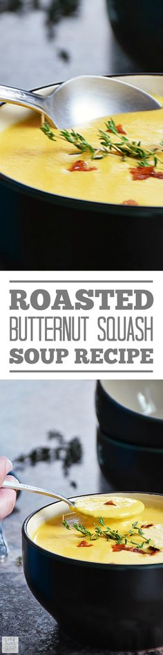 Roasted Butternut Squash Soup is an easy recipe to make and hits the spot. It is very filling and makes for a hearty meal all on its own, but add a grilled cheese sandwich and you have a very satisfying dinner, even for the old meat and potato types like my hubs! This soup also makes a great starter for your Thanksgiving holiday dinner. #LTGrecipes