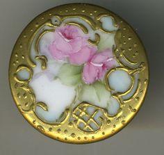 Large Pretty Porcelain Brass Roses Button   eBay