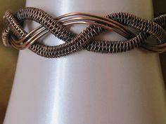 Handmade Antiqued Copper Wire Weave Bracelet by MaxxBelleCreations