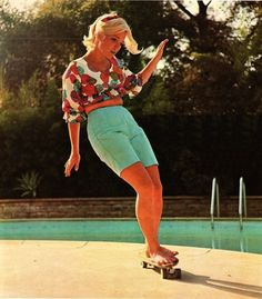 Patti McGee (first female professional skateboarder) - from the cover of Skateboarder Magazine, October 1965