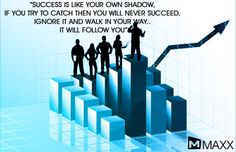 Success is like your own shadow,  if you try to catch then you will never succeed,  ignore it and walk in your way..  It will follow you