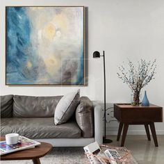 INNOCENT SOUL With this original artwork, the artist conveyed his impressions of the first summer day. Waking up from the sunbeams in the room, he was waiting for a miracle and changes for the better. The key shades of the abstract art are blue, yellow, beige and dirty-ash shades. The oil painting will harmoniously fit