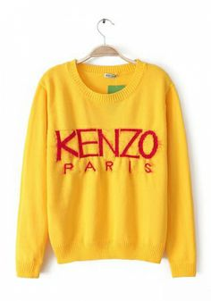 Yellow Cotton Acrylic Round Neck Long Sleeve Letters Tops