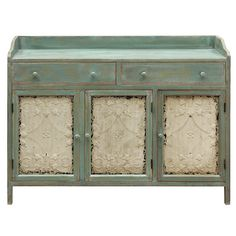 Charming Italian Cottage Cupboard with white tin doors that create a striking contrast to the distressed teal wood. Teal Furniture, Door Furniture, Painted Furniture, Furniture Storage, Distressed Furniture, Refurbished Furniture, Farmhouse Furniture, Accent Furniture, Italian Cottage