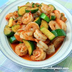 Sweet and spicy shrimp and zucchini