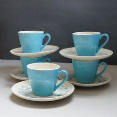 Blue Heaven Dinnerware 1950s Atomic Mid by PinkElephantsRetro