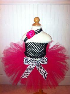 Hot pink with zebra ribbon tutu set by LittleDivasTutus on Etsy, $17.99