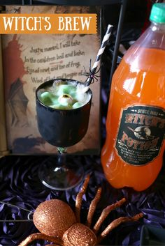 Craft up this non alcoholic Halloween Cocktail. This spooky witch's brew is easy to make and delicious to drink. It's perfect to serve at your next Halloween Party. Click to see the recipe.