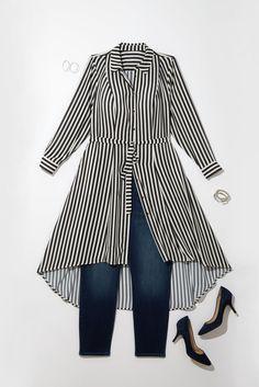 Plus Size Fashion: This fall, transform a long shirt dress into an eye-catching top.