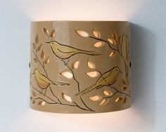 Ceramic wall lamp Hand Painted Birds Lighting by CeramicART4U