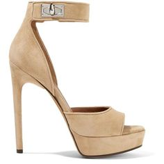 GivenchyShark Lock Suede Platform Sandals (€955) ❤ liked on Polyvore featuring shoes, sandals, sand, strap sandals, suede platform sandals, black shoes, black strappy shoes and chunky-heel sandals