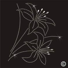 Lily Flower Rhinestone Diamante Transfer Iron On Hotfix Crystal Motif Gem Patch | eBay: