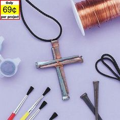 Larger image for Nail Cross Necklace Craft Kit (makes 36)