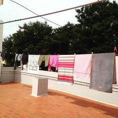 Mysore obsession #1 - clean laundry drying out on the rooftop  nothing beats clean and nice smelling yoga towel mats in the morning to practice to #mysore #kpjayi #mindbodybreath