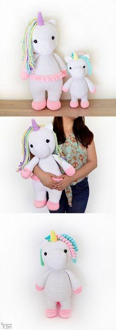Two Crochet Patterns - Betsy the Big Unicorn and Mimi the Friendly Unicorn - Amigurumi - Crochet Bundle