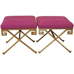 Never go wrong with Hot Pink and Gold...The Perfect pair of Glam Benches