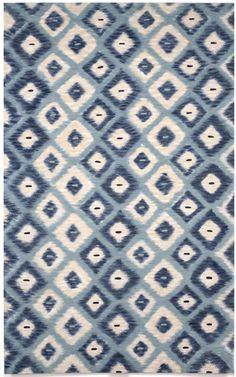 Ikat Diamonds Aqua Rug 5x8u0027 #Textiles #Lamontage #AiryBlue #Rugs  #Wallcoverings