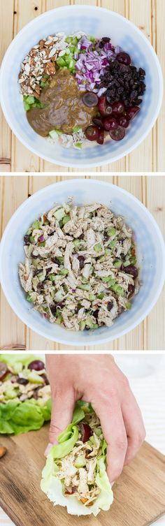 This almond butter chicken salad skips the mayo and instead uses an almond butter and apple cider vinegar dressing! Studded with raisins, fresh grapes and chopped almonds, this tasty chicken salad is perfect for serving in lettuce wraps, over salad or on your favorite sandwich bread.