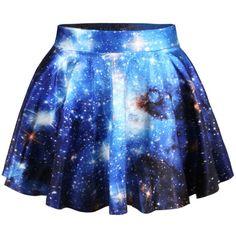 Elastic Waist Galaxy Printed Flared Mini Skirt (315 MXN) ❤ liked on Polyvore featuring skirts, mini skirts, bottoms, blue flared skirt, short flared skirt, flare skirt, elastic waist mini skirt and blue mini skirt
