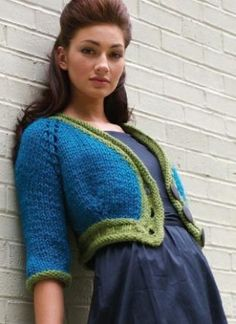Free Knitting Pattern FittedKnitsMiniCardi Bold and Bulky Mini Cardigan : Lion Brand Yarn Company
