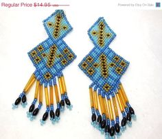 BIG SALE Vintage Hand Beaded Earrings Native by JewlsinBloom, $11.96