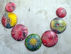 Fanciful Artisan Polymer Clay  Discs by MargitBoehmer on Etsy, $18.00