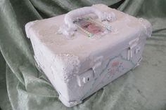 Altered case in vintage lace. By Annecan Creations Trunk Makeover, Dozen, Vintage Suitcases, Hat Boxes, Vintage Lace, Altered Art, Trunks, Scrap, Drift Wood