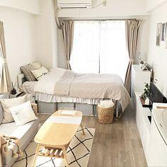 makiさんの部屋全体,ナチュラル,一人暮らし,1K,ベージュ,ホワイトについての部屋写真